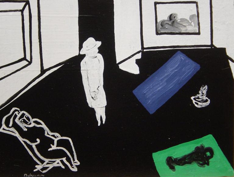 """Obra del pintor Manolo Belzunce de la serie """"El marchand dans l'atelier"""""""