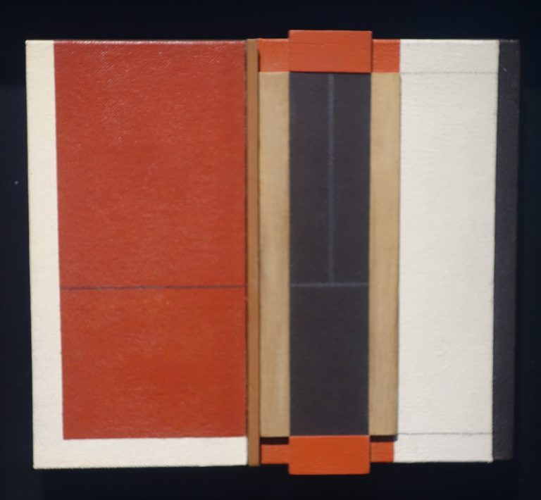 Juan de Andres - collage en madera en la galeria de arte de Barcelona Sala Dalmau