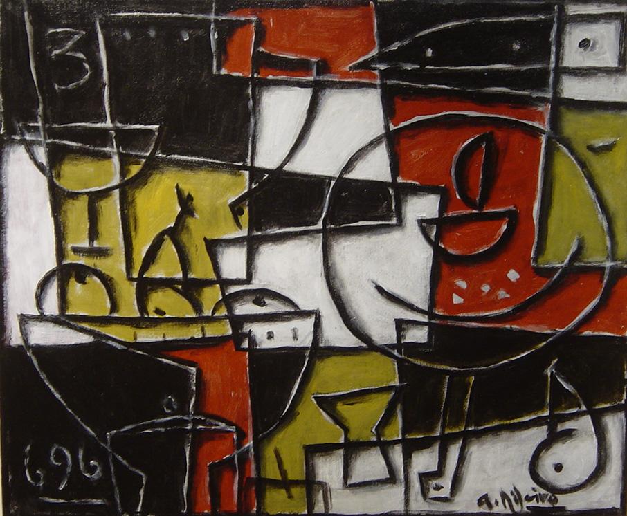 Acrílico sobre tela del pintor Alceu Ribeiro en la galería de arte Sala Dalmau de Barcelona