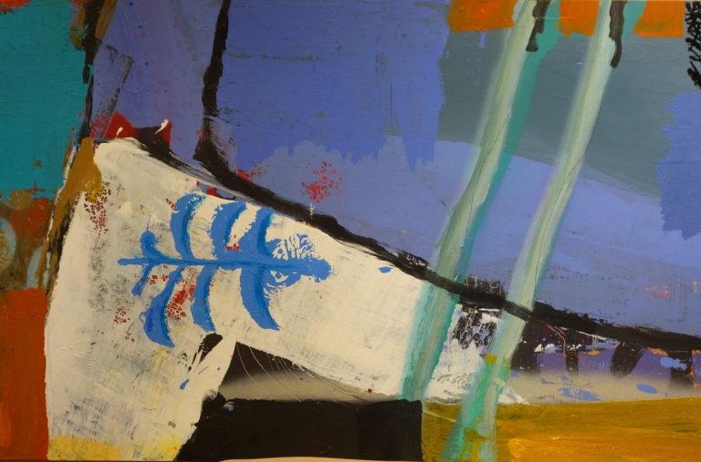 Obra de Javier Lapuente. Fragmento de una de sus pinturas en la galería de arte de Barcelona Sala Dalmau