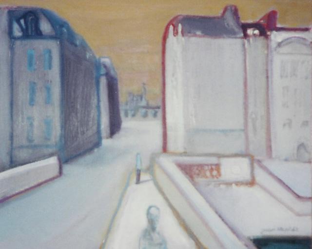 Paisaje urbano del pintor de la escuela de París Juan Alcalde