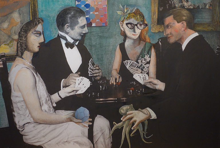 Obra de Miguel Peña de la serie jugadores de cartas en la galería de arte de Barcelona Sala Dalmau